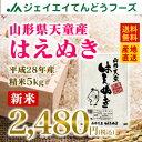 【あす楽】【新米】28年産 山形県天童産はえぬき精米5kg 送料無料※一部地域は別途送料追加