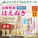 【無洗米】28年産米 山形県産米 送料無料米 はえぬき米 30kg米 まとめ買い米 ブランド米 JA米