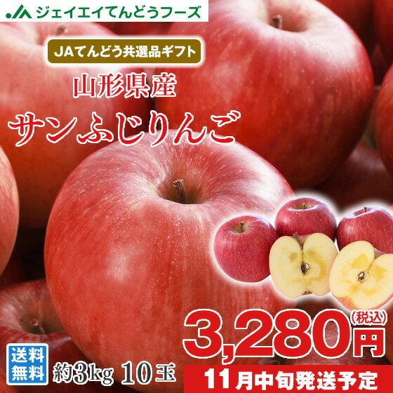 りんご ギフト 送料無料 サンふじ 秀品 約3kg(8〜12玉) JAてんどう共選品 ※一部地域は別途送料 お歳暮 t15
