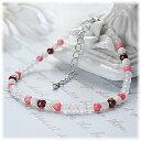 ショッピングオブ ガーネット×ピンク珊瑚×ホワイトカルサイト×マザーオブパール4mm アンクレット 天然石 パワーストーン