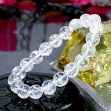 【バレンタイン プレゼント】 4月誕生石♪ 天然クラック水晶ブレスレット10mm 【天然石 パワーストーン】 of1-30