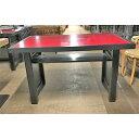 【中古】テーブル 木脚 天板 赤 幅1200×奥行800×高さ700 【送料別途見積】【業務用】