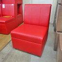 【中古】丸つぶ柄 赤ソファー 幅480×奥行590×高さ760 【送料別途見積】【業務用】