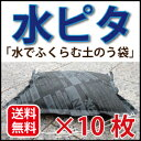 【土嚢 水でふくらむ】水ピタ10枚入 モリリン 吸水ポリマー土のう袋 真水/標準タイプN型