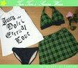 水着 レディース ビキニ 9M メール便可(6347)■Juicy Dolce(ジューシィドルチェ) タンキニ4点 スカート チェック 緑 9号