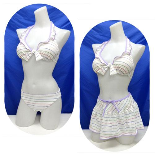 【メール便可】レディース水着ビキニ3点セットスカート付7S(10699)■PRIVATELABEL(プライベートレーベル)ボーダーラメ白女性水着7号