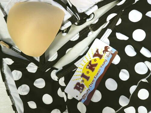 【メール便可】【期間限定】レディース水着ビキニ11L(8749)■BIKYホルターネックビキニ3点スカート付ドット茶女性水着11号