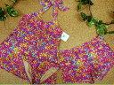 【セール】【送料無料!】 レディース 水着 タンキニ 9M(11166)■upt タンキニ水着3点セット Aライン ホルターネック パンツ付 カラフル ピンク系 女性水着 9号