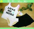 【セール】子供水着 女児 タンキニ 150(8026)■Reyes Reyes スカート付 女の子水着 ボーダー ピンク