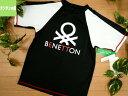 子供水着ラッシュガード【メール便可】160(11643)■BENETTON(ベネトン)こどもキッズ女児女の子水着半袖ロゴマーク黒白160cm