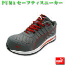 【送料無料】安全靴 安全スニーカー PUMA SAFETY プーマ セーフティシューズ Xelerate Knit Low エクセレレイト・ニット・ロー 樹脂先芯 クッション グレー 25.0〜28.0cm