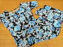 大きいサイズ水着 フィットネス 5L(3159)■レディース オールインワン 3点セット パンツ・帽子付 女性用 花 ブルー 19号