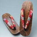 新品 ちりめん鼻緒浴衣用下駄  503 (箱なし) 高級焼桐台 滑り止めつき 菊花牡丹  【リサイクルきもの・リサイクル着物・通販・販売・アンティーク着物・着物買い取り・きもの天陽  kimono 中古品