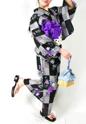 【12】 ★プレタ浴衣★ 【黒×薔薇】 【リサイクルきもの・リサイクル着物・アンティーク着物・着物買い取り・きもの天陽・和服・着物・呉服】★ kimono 中古品