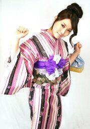 【14】 ★プレタ浴衣★ 【縞×お花】 【リサイクルきもの・リサイクル着物・アンティーク着物・着物買い取り・きもの天陽・和服・着物・呉服】★「A」 kimono 中古品