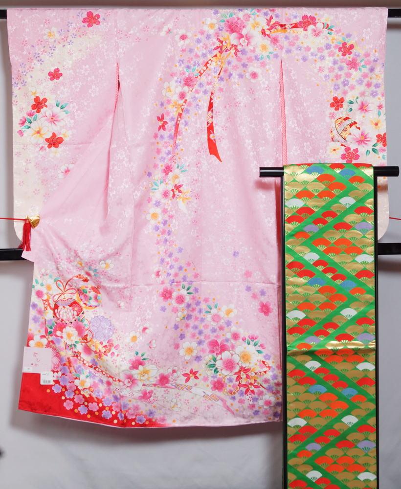 七五三7歳着物セット(2)ピンク着物・帯・長襦袢3点セットお祝い着着物7歳女児用新品フリーサイズ四つ