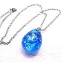 ショッピングガラス ブルー 銀箔 ガラス トンボ玉 ネックレス ステンレスチェーン 青 ガラス/とんぼ玉 【ガラスアート COOL】