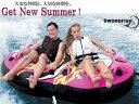 水上活動 - ※大人気※ トーイングチューブ 2人乗り Double Ring グリーン ジェットスキー 遊具 浮き輪 ゴムボート トーイングロープ トーイングボート バナナボート