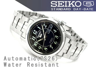 Seiko 5 mens automatic watch black dial stainless steel シルバーコンビ belt SNKL93K1