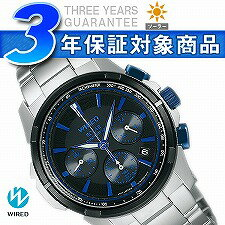 Seiko wired new standard mens watch solar chronograph black x blue AGAD039