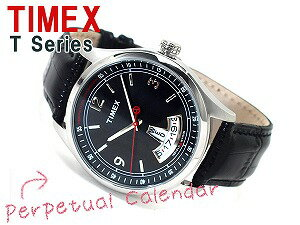 Timex T-Series men perpetual calendar watch black dial black leather belt T2N216
