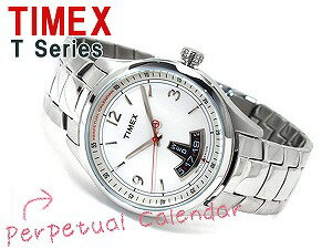 Timex T-Series men's perpetual calendar watch White Dial stainless steel belt T2N218