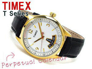 Timex T-Series men's perpetual calendar Watch Gold White Dial black leather belt T2N220