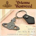 【Vivienne Westwood ヴィヴィアンウエストウッド】 ガジェット キーリング オーブ チャーム ガンメタル×ブラックレザー 321572-265BK【ネコポス可】