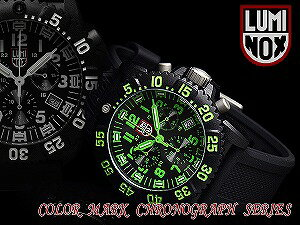 Luminox men's Chronograph Watch Black Green rubber 3097