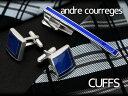 ANDRE COURREGES アンドレ・クレージュ メンズ カフスボタン カフリンクス 青 cc6002a