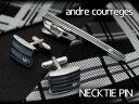 【andre courreges】アンドレ・クレージュ ネクタイピン ブルー×シルバー ボーダー柄 CT4003A 【セットではありません】