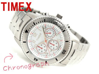 Timex men's Chronograph Watch White Dial stainless steel belt T2N160
