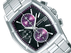 Seiko wired new standard model tonneau chronograph mens watch black × purple AGAV041