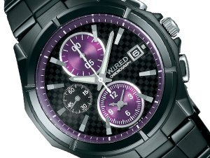 Seiko wired new standard model round chronograph men's watch-all black / purple AGAV044
