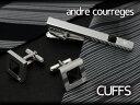 ANDRE COURREGES アンドレ・クレージュ メンズ カフスボタン カフリンクス 黒 スワロフスキー cc6011