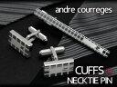 ANDRE COURREGES アンドレ・クレージュ おしゃれ メンズ ネクタイピン タイバー カフスセット 銀×白 act4002-acc8002