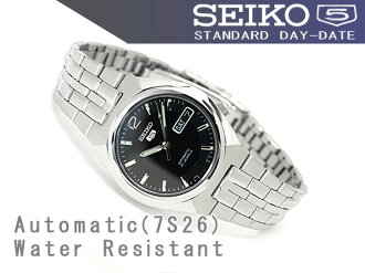 Seiko 5 mens automatic watch black dial stainless steel シルバーコンビ belt SNKL61K1