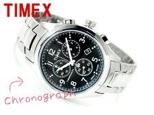 【TIMEX】タイメックスTシリーズメンズクロノグラフ腕時計ブラックステンレスベルトT2M469