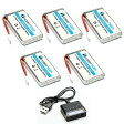 HOBBYTIGER 3.7V 1200mAh Lipo バッテリー 25C ( 5PCS ) + 5 in 1 Batteries Charger for SYMA X5SW X5SC CX-30W RC Quadcopter Drone リプレイスメント 「汎用品」(海外取寄せ品)