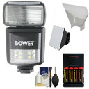 Bower SFD970 2-in-1 Power Zoom フラッシュ & LED ビデオ Light with Batteries & Charger + Diffuser + Bounce Reflector キット for Nikon i-TTL DSLR Cameras 「汎用品」(海外取寄せ品)