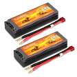 Floureon 2Packs 2S 7.4V 7000mAh 25C Lipo バッテリー (Deans Plug) 5.46*1.87*1.01 インチ for RC Quadcopter Airplane Helicopter Car Truck ボート Hobby 「汎用品」(海外取寄せ品)