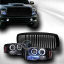 BLK HALO LED PROJECTOR HEAD LIGHTS+FRONT VERTICAL グリル GRILLE ABS 2002-...