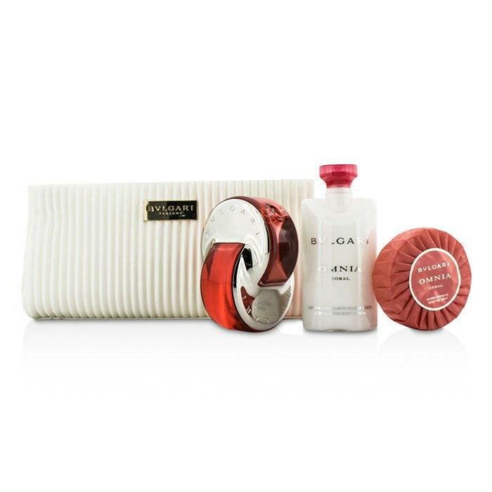BvlgariOmnia Coral Coffret: Eau De Toilette Spray 65ml/2.2oz + Soap 75g/2.6oz + Body Lotion 75ml/2.5oz + Pouchブルガリオムニア コーラル コフレ: EDT SP 65ml/2.2oz + ソープ 75g/2.6oz + ボディローション 75ml/2.5oz + ポーチ 3pcs+pouch