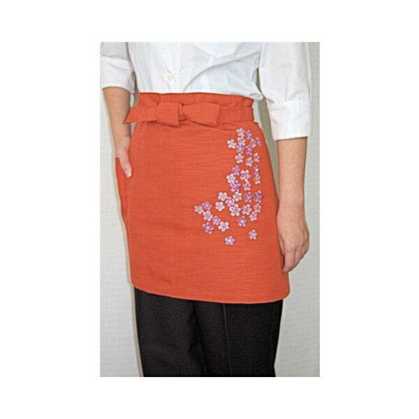 和風和柄 桜刺繍42cm丈エプロ、前掛け業務用 サロンエプロン オレンジ ホテル・旅館制服