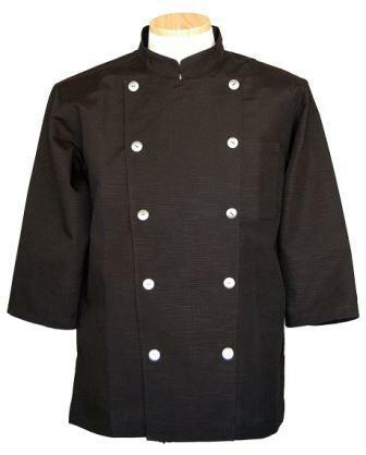 コックコート七分袖 黒Xシルバーボタン(コック服 厨房服 調理着 白衣着ユニフォーム)男女兼用S〜LL 全8色 B-202