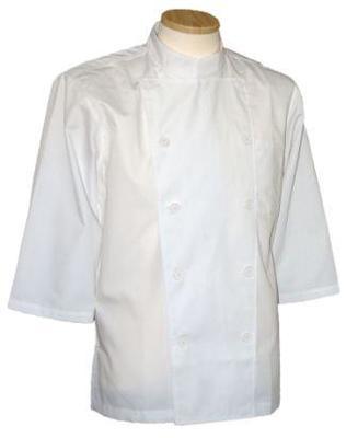 コックコート七分袖 白X白ボタン(コック服 厨房服 調理着 白衣着ユニフォーム)男女兼用S〜LL 全8色 B-202