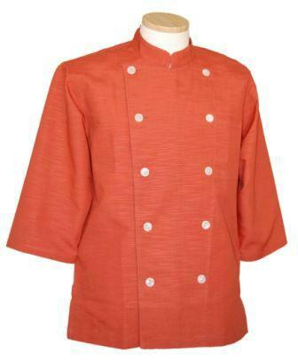 コックコート七分袖A オレンジ(コック服 厨房服 調理着 白衣着ユニフォーム)男女兼用S〜LL 全8色 B-202