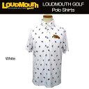 [クーポン有][日本規格]2017 Loudmouth(ラウドマウス) メンズ プレミアムカノコ ドクロ柄プリント ポロシャツ (999)White 767602[新品]17SSゴルフウェアホワイト