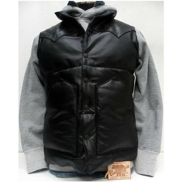 Rainbow Country(レインボーカントリー) [All Leather Down Vest]レザーヨーク/ダウンベスト/日本製/ブラック!