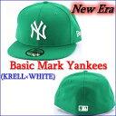【新商品!】【帽子】【キャップ】【ニューエラ】【ベースボールキャップ】【ヤンキース】new era 【ニューエラ】59fifty cap custom basic mark yankees (ケリーグリーン*メタルホワイトマーク) 1023max10